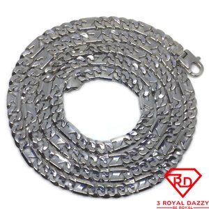 """Figaro-like Chain 28"""" Necklace White gold Layer"""